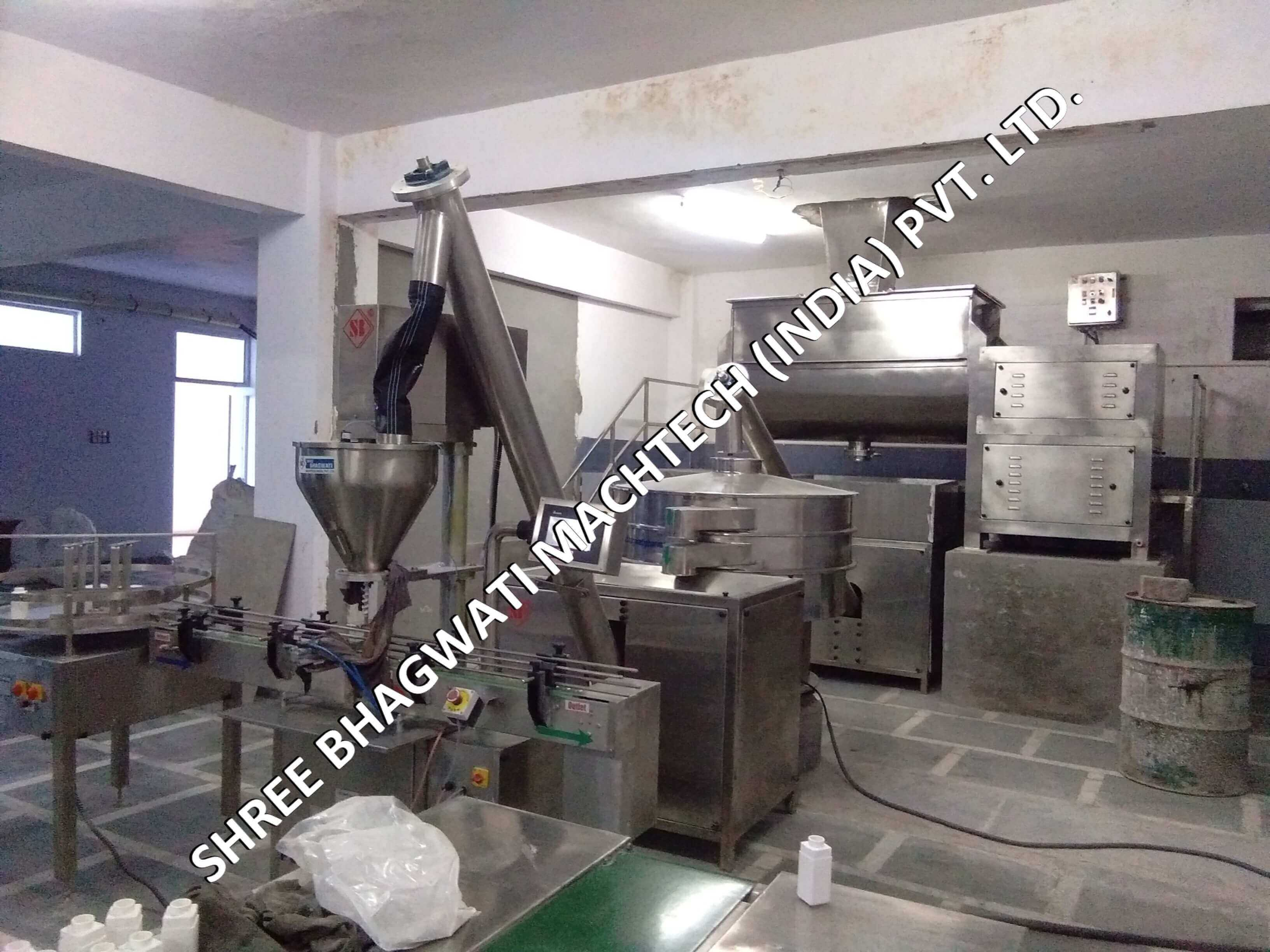 talcum mixer and filling line